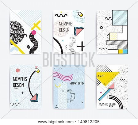 Colorful trend Neo Memphis geometric poster set juxtaposed with bright bold blocks of color zig zags, squiggles, erratic images. Design background elements composition. Magazine, leaflet, billboard