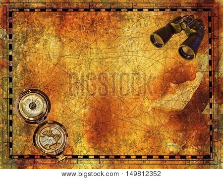 Ancient border for pirate map with binocular and compass on grunge paper texture background. Hand drawn illustration with treasure hunt, vintage adventures and old transportation concept