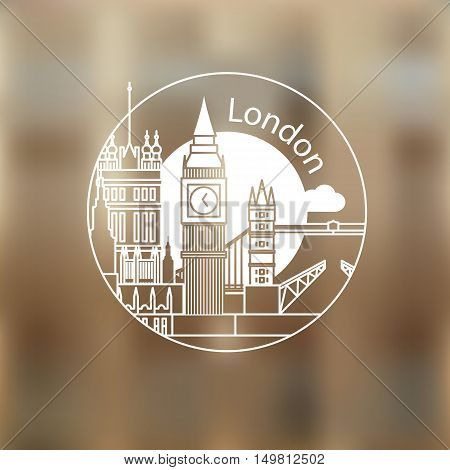 London vector round linear logo. Trendy stylish landmarks. One line style. Westminster and Big Ben - The symbol of London, Great Britain
