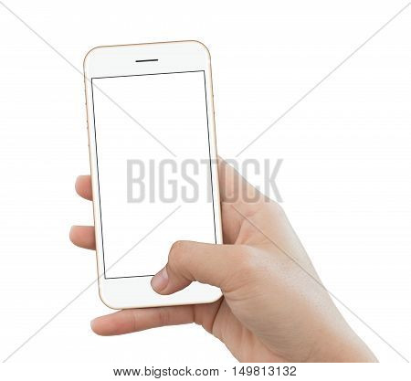 closeup hand use phone gold color isolated on white background mock up phone white screen for add app screen