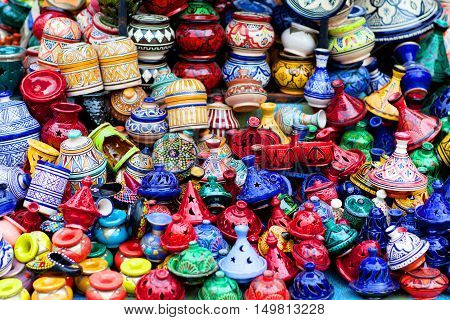 Plates, Tajines And Pots Made Of Clay On The Market