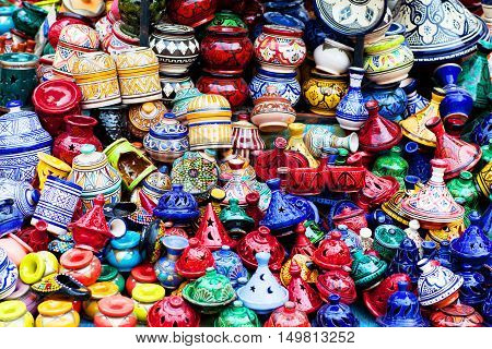 Plates Made Of Clay In The Souk Of Chefchaouen, Morocco