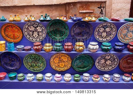 Tajines, Plates And Pots At The Market In Morocco