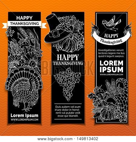 Vector Chalk Thanksgiving Vertical Banners Set.