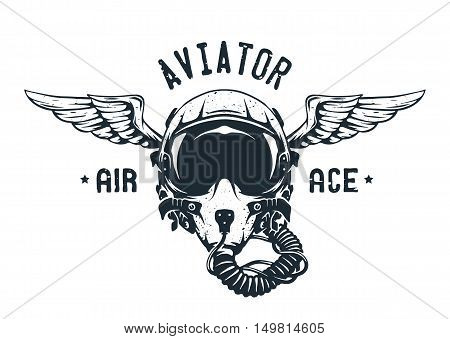 Fighter Pilot Helmet. Emblem t-shirt design. Vector illustration.