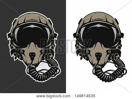 Fighter Pilot Helmet for dark and white background. Vector illustration.