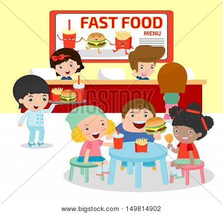 happy kids eating a hamburger and french fries in a fast food restaurant, The atmosphere inside the fast food restaurant, kids ordering food at a fast food restaurant,Vector Illustration