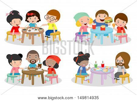 set of Family sitting at dining table, family eating dinner, kids eating Fast Food, family eating sushi, family eating breakfast, friends sitting and chatting in cafe, vector illustration