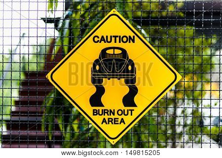 Roadsign race on yellow label on steel background