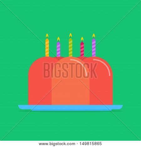 Pudding cake vector icon isolated from the background. Orange pudding jelly on a plate in a flat style. Symbol desserts and confectionery products.
