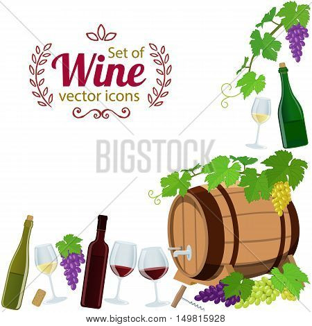 Corner frame of wine icons isolated on white background. Vector stock illustration.