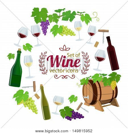 Round frame with wine icons. Template for packaging cards posters menu. Vector stock illustration