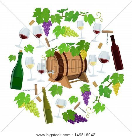 Set of wine icons in circle shape background. Template for packaging cards posters and menu. Vector stock illustration.