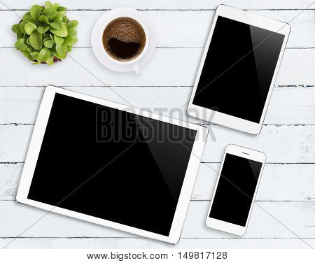 communicator device phone and tablet white color tone on wood table mockup modern phone and digital tablet