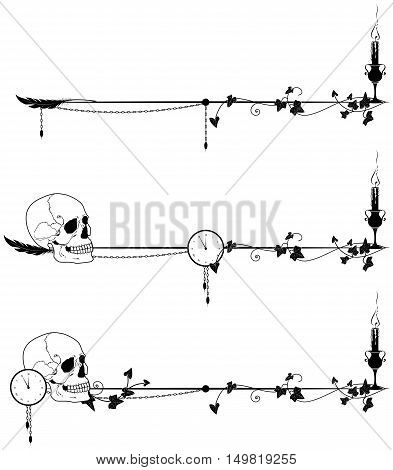 set of vector dviders with skull candle clock and ivy in bllack and white