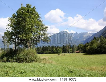 Beautiful mountain landscape in Bovec Slovenia on a summer afternoon