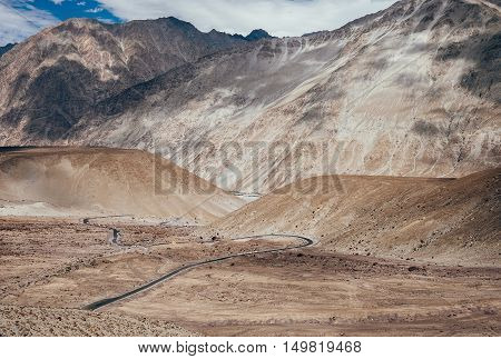 Mountain road in Nubra Valley North India