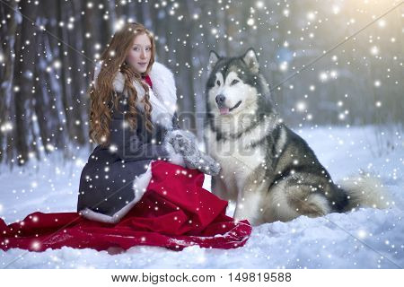 The Woman In Grey Coat With A Dog Or Wolf.