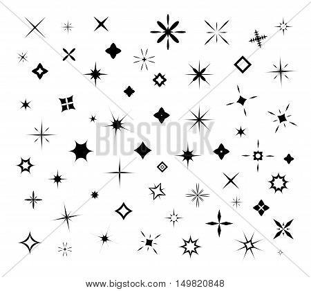 Black sparkles, glowing light effect stars and bursts vector set. Bright firework, decoration twinkle, shiny flash vecor illustration poster