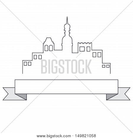 Label town with tape. It is easy to edit. Vector illustration