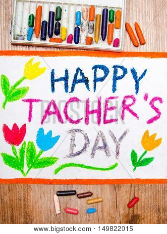 Colorful drawing - Teacher's Day card with tulip
