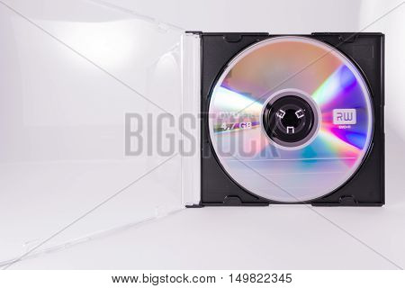 Blank Dvd Cd Rewriteable Circle Closeup Case Transparent Plastic White Background Object Media Offic