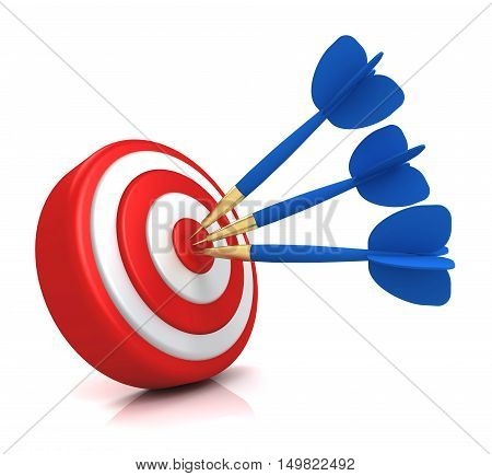 bullseye target 3d illustration isolated on white background