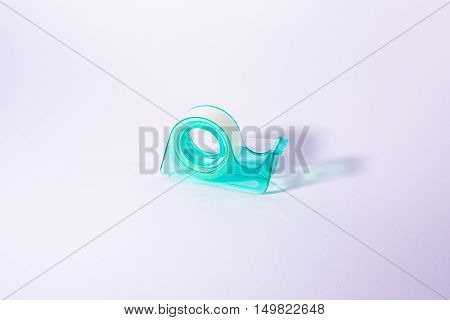 Teal Tape Roll Dispenser Office Supply White Background Pure Bright