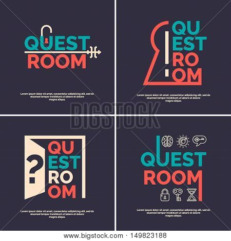 Real-life room escape. Set logos and posters for the quest room.