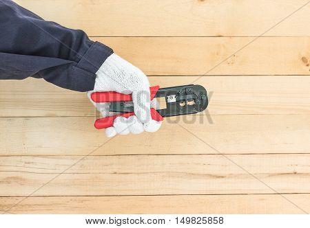 Hand In Glove Hold Wire Stripper