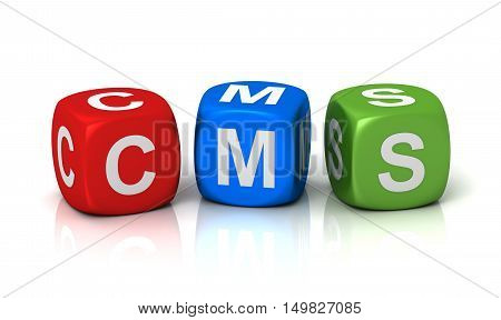cms cubes  isolated on white background 3d illustration