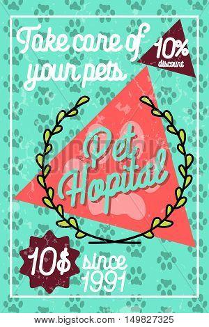 Color vintage veterinarian poster. Emergency veterinarian design. Vector illustration, EPS 10