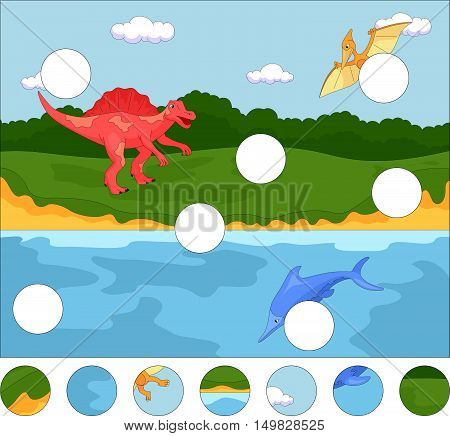 Funny Cute Pterodactyl, Ichthyosaur And Spinosaurus. Complete The Puzzle And Find The Missing Parts