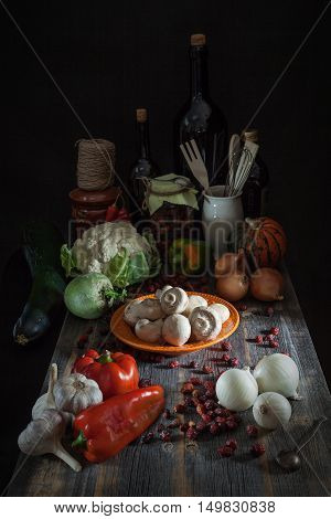It is a lot of different fresh vegetables, mushrooms and a dried dogrose