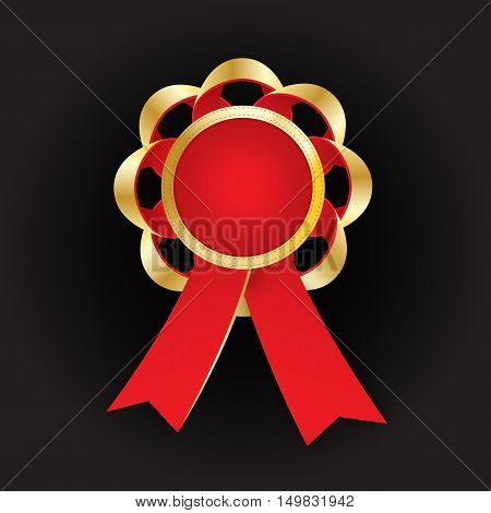 Realistic vector gold award with reb bow and ribbon on dark background. Round composition. Paste your photo inside. Employee of the year concept.