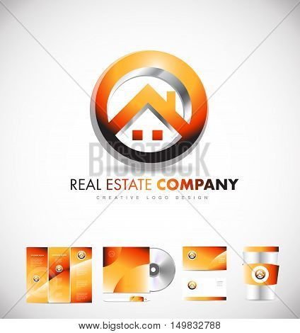 Real estate house circle vector logo icon sign design template corporate identity
