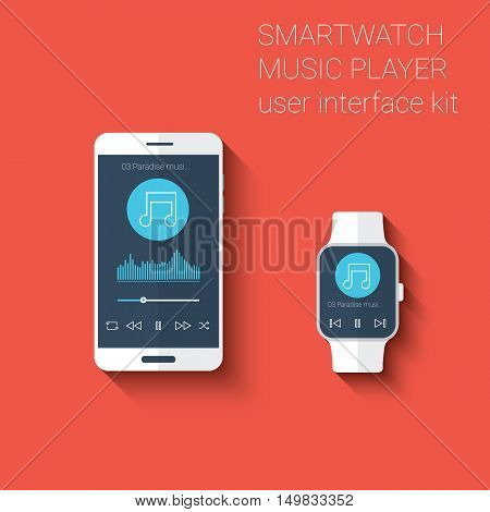 Smartphone and smartwatch music player user interface icons kit. Wearable technology concept in modern flat design. Eps10 vector illustration.