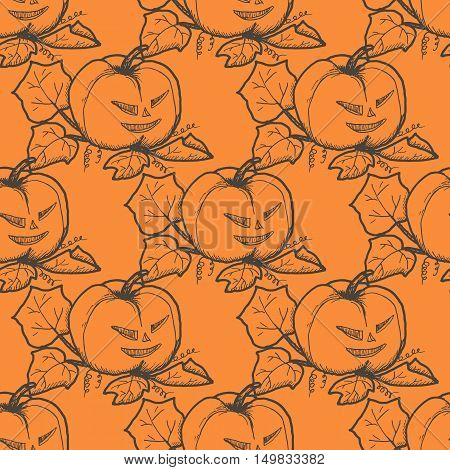 Hand drawn doodle Halloween pampkin pattern. Black pen objects drawing. Design illustration for poster, flyer over orange background.