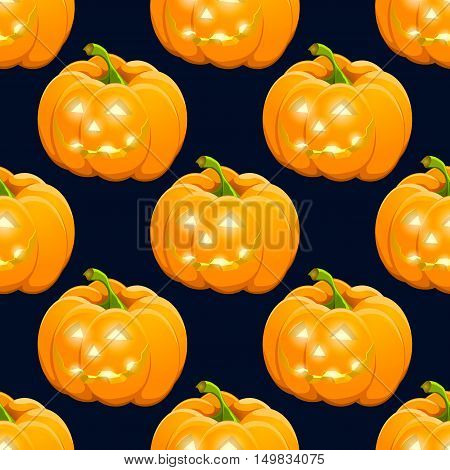 Hand drawn Halloween pampkin pattern. Color objects drawing. Design illustration for poster, flyer over orange background.