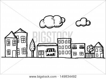 Hand drawn doodle town. Black pen objects drawing. Design illustration for poster, flyer over white background.