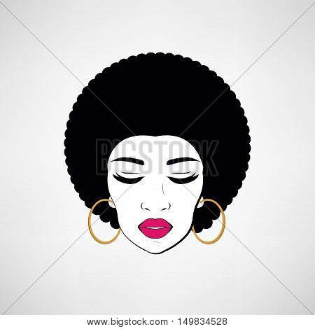 Front view portrait of a black woman face. Disco girl. Vector retro style