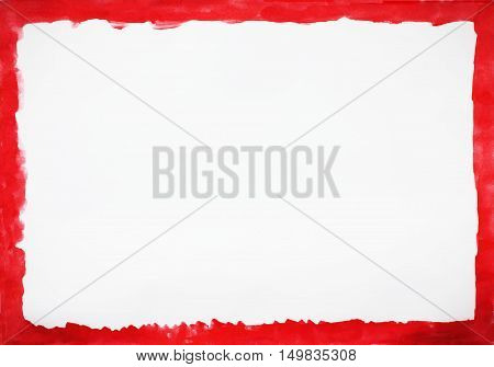 Painted abstract watercolor splash bright colorful dark light red frame border grunge wet pattern backdrop. Simple empty white paper background copy space for text note message advertising design concept