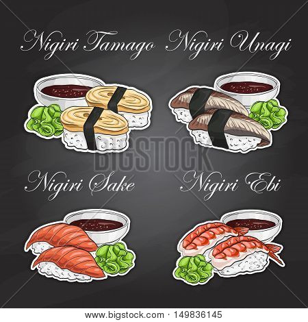 Vector Nigiri Sushi color sticker, set on black background. Sushi symbol stock vector illustration.