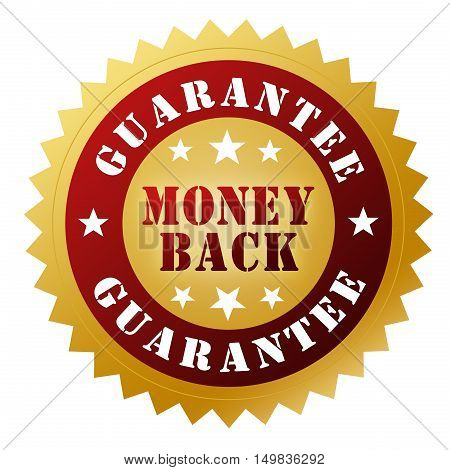 money back guarantee badge 3d illustration on white  background