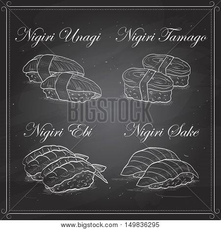Vector Nigiri sushi sketch, set of four types of sushi on a blackboard. Sushi symbol stock vector illustration.