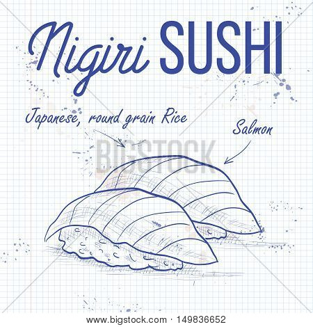 Vector nigiri sushi sketch, Sake sushi on a notebook page
