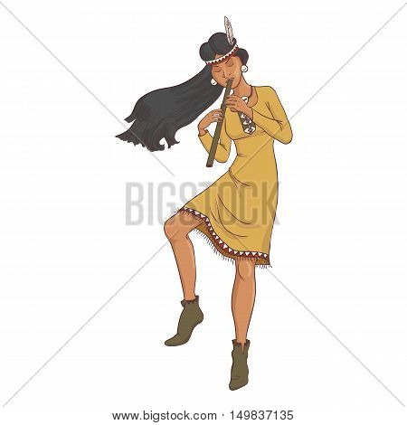 native american, dancing indian woman in traditional costume with flute, hand drawn vector illustration