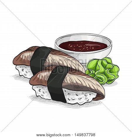 Vector sushi color sketch, unagi nigiri. Sushi symbol stock vector illustration.