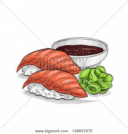 Vector sushi color sketch, Sushi nigiri sake. Sushi symbol stock vector illustration.