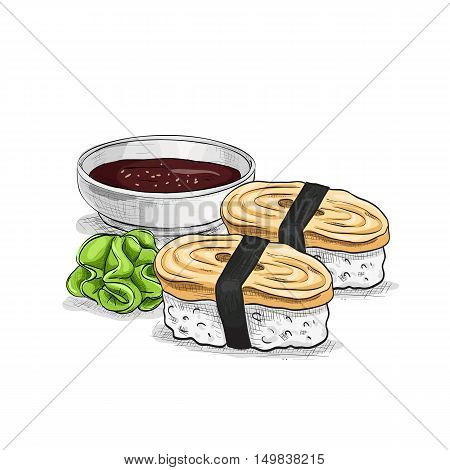 Vector sushi color sketch, Tamago Nigiri Sushi. Sushi symbol stock vector illustration.